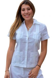 Party Guayabera for Ladies. Short Sleeve. Linen 100% Guayabera. Runs Small. White Color.