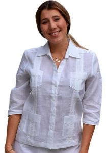Guayabera Women 3/4 Sleeve Blouse. 100% Linen. Runs Small. White Color.