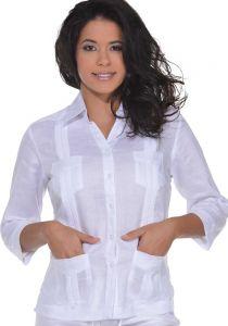 Guayabera Women 3/4 Sleeve Blouse. 100% Linen. Runs Small. White Color.