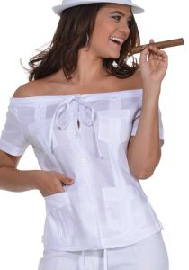 Cuban Party Off The Shoulder Sexy Guayabera Blouse. Linen 100 %. Run Small. White Color.