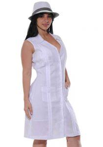 Cuban Party Linen Guayabera Sleeveless Dress. NO Sleeves. 100% Linen. Runs Small. White Color.