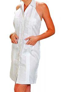 Sexy Guayabera Dress. Cuban Party Halter. Linen 100 %. Run Small. White Color.
