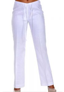 Drawstring Ladies Guayabera Linen Pants. Runs Small. Various Colors.