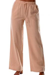 Drawstring Ladies Linen/Cotton Pants. Perfect fit. Beige Color.