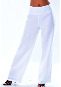 Pants for ladies adjustable waist with elastic. Beautiful fit. White Color.