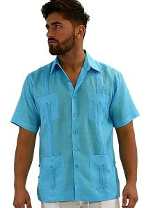 Cuban Party Guayabera Short Sleeve. Regular Linen. Aqua Color.