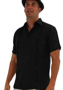 Cuban Party Guayabera Short Sleeve. Regular Linen. Black Color.
