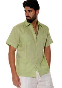 Cuban Party Guayabera Short Sleeve. Regular Linen. Lime Color.