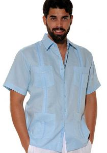 Cuban Party Guayabera Short Sleeve. Regular Linen. Light Blue Color.