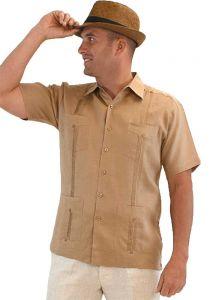 Cuban Party Guayabera Short Sleeve. Regular Linen. Light Bronw Color.