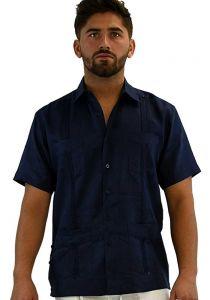 Cuban Party Guayabera Short Sleeve. Regular Linen. Navy Color.
