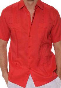 Cuban Party Guayabera Short Sleeve. Regular Linen. Red Color.