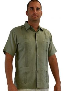 Cuban Party Guayabera Short Sleeve. Regular Linen. Sage Color.