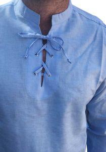 Men's Linen & Cotton  Mandarin Collar Lace Up Neckline Long Sleeve Shirt. Sky Blue Color.