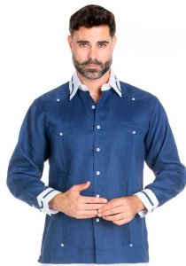 100% Linen Guayabera Shirt Long Sleeve.  Constract Cuff,  Collar with Trim. Navy Color.