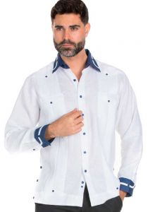 100% Linen Guayabera Shirt Long Sleeve.  Constract Cuff,  Collar with Trim. White Color.