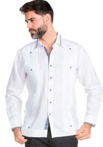 Beautiful Linen 100 % Guayabera  Multi Constract Collar shirt.  Men's Stylish Shirt. White Color.