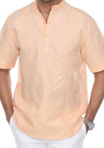 Embroidered Linen/Cotton. Collar MAO. Short Sleeves. Peach Color.