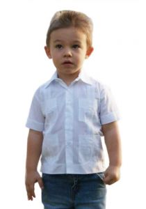 Babies Poly-Cotton Blend Guayabera. 6 to 18 Months. Short Sleeve. Run one size less than the Age. Color White.
