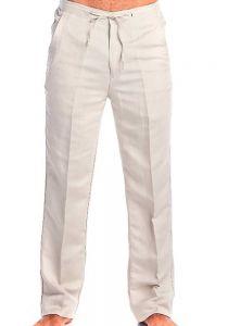 Drawstring Linen Pants For Men. Men's Resort Lounge 100% Linen Flat front Dress Pants. Runs Small. Natural Color.