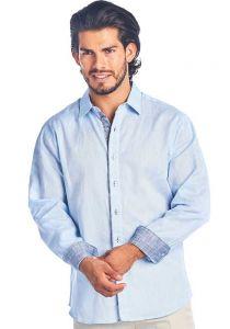 Men's 2 Tone Button Down Natural Linen Shirt Long Sleeve. Blue Color.
