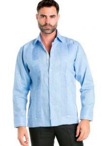 Linen Shirt Guayabera Long Sleeve Button Down with Piping Collar and Cuff Trim. Light Blue Color.