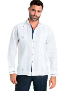 Linen Shirt Guayabera Long Sleeve Button Down with Piping Collar and Cuff Trim. White Color.