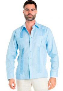 Linen Shirt Guayabera Pinstripe Print Long Sleeve Button Down. Light Blue Color.