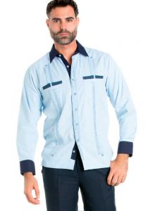 Men's Premium Cotton Blend Guayabera Shirt Long Sleeve 2 Pocket Design with Contrast Print Trim. Light Blue Color
