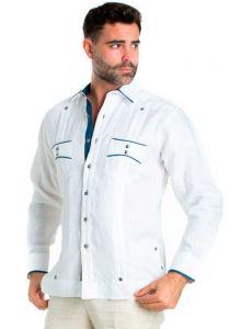 Men's Premium 100% Linen Guayabera Shirt Long Sleeve. 2 Pocket Design with Contrast Polka Dot Trim. White/Navy Color.