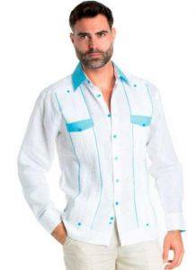 Linen Shirt Guayabera Long Sleeve Button Down with Collar Cuff and Pocket Gingham Print Trim. White & Aqua Color.