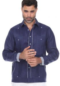Linen Shirt Guayabera Long Sleeve. Two Pockets. 100 % Linen. Navy Color.