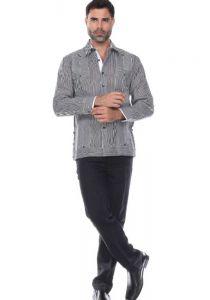 Pinstripe Premium 100% Linen Guayabera Shirt Long Sleeve for Men. Two Pockets. Black Color.