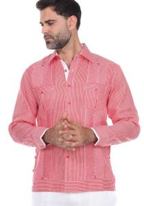 Pinstripe Premium 100% Linen Guayabera Shirt Long Sleeve for Men. Two Pockets. Red Color.