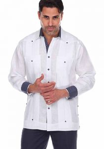 Party Guayabera. Beautiful Linen 100 %.  Men's Stylish Shirt. Two Pockets. White Color.