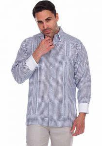 Checker Beautiful Print Men's Linen Guayabera. Long Sleeve. Blue Color.