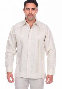 Big Pleats Exquisite Natural Color Linen  Guayabera Shirt . Long Sleeve. Two Pockets. Solid Color. Natural (Beige) Color.