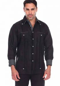 Party Guayabera. Beautiful Linen 100 %.  Men's Stylish Shirt. Two Feature  Pockets. Black Color.