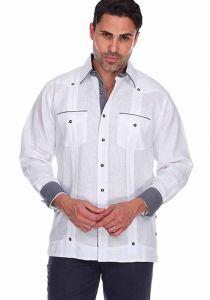 Party Guayabera. Beautiful Linen 100 %.  Men's Stylish Shirt. Two Feature Pockets. White Color.