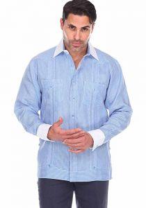 French Cuff Party Stripe Print 100% Linen Guayabera Shirt Long Sleeve. Blue Color.