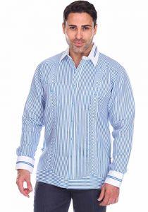 Party Stripe Print 100% Linen Guayabera Shirt Long Sleeve100% Linen Guayabera Shirt Long Sleeve. Blue Color.