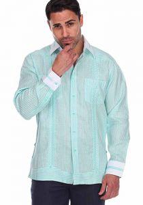 Party Stripe Print 100% Linen Guayabera Shirt Long Sleeve100% Linen Guayabera Shirt Long Sleeve. Mint Color.