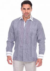 Party Stripe Print 100% Linen Guayabera Shirt Long Sleeve100% Linen Guayabera Shirt Long Sleeve. Navy Blue Color.