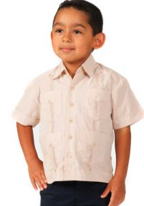Kids 100% Linen Guayaberas. Short Sleeves. 3 to 10 Years. It Runs Small. Champagne Color.