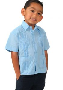 Kids 100% Linen Guayaberas. Short Sleeves. 3 to 10 Years. It Runs Small. Blue Color.