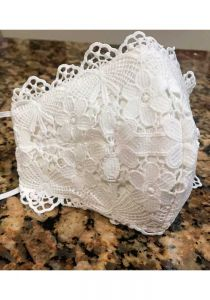 Wedding Mask. Corded Lace Applique Linen Fashion Face Mask Adjustable. MaskS2.