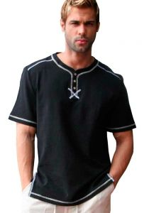 Drawstring Cotton Shirt. Casual Beach Shirt. Black Color.