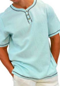Drawstring Cotton Shirt. Casual Beach Shirt. Baby Blue Color.