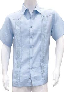 Short Sleeves Shirt with Pineapple Embroidery. Light Blue Color.