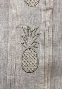 Short Sleeves Shirt with Pineapple Embroidery. Natural Color.
